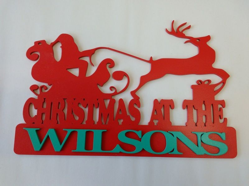 PERSONALISED PLAQUE CHRISTMAS AT THE (ANY NAME)WALL ART/ DECORATION